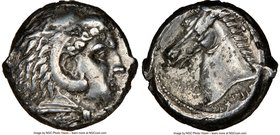 SICULO-PUNIC. Sicily. Ca. 300-289 BC. AR tetradrachm (23mm, 16.92 gm, 11h). NGC XF 4/5 - 2/5. Quaestors issue. Head of young Heracles right, wearing l...