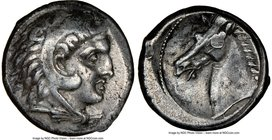 SICULO-PUNIC. Sicily. Ca. 300-289 BC. AR tetradrachm (25mm, 16.83 gm, 3h). NGC Choice VF 4/5 - 3/5, scuff. Quaestors issue. Head of young Heracles rig...