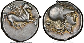 ACARNANIA. Anactorium. Ca. 350-300 BC. AR stater (20mm, 8.55 gm, 9h). NGC Choice VF 4/5 - 5/5. Pegasus flying right, AN monogram below / Head of of At...
