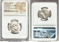 ATTICA. Athens. Ca. 440-404 BC. AR tetradrachm (27mm, 17.20 gm, 4h). NGC Choice AU 5/5 - 5/5. Mid-mass coinage issue. Head of Athena right, wearing cr...