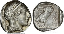 ATTICA. Athens. Ca. 440-404 BC. AR tetradrachm (24mm, 17.19 gm, 9h). NGC Choice AU 5/5 - 4/5. Mid-mass coinage issue. Head of Athena right, wearing cr...