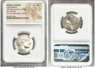 ATTICA. Athens. Ca. 440-404 BC. AR tetradrachm (25mm, 17.20 gm, 4h). NGC Choice AU 5/5 - 5/5. Mid-mass coinage issue. Head of Athena right, wearing cr...