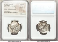 ATTICA. Athens. Ca. 440-404 BC. AR tetradrachm (25mm, 17.18 gm, 12h). NGC Choice AU 5/5 - 2/5, test cut. Mid-mass coinage issue. Head of Athena right,...