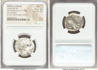 ATTICA. Athens. Ca. 440-404 BC. AR tetradrachm (24mm, 17.19 gm, 3h). NGC AU 4/5 - 4/5. Mid-mass coinage issue. Head of Athena right, wearing crested A...