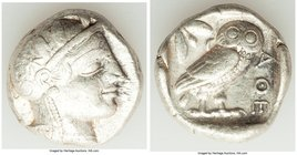 ATTICA. Athens. Ca. 440-404 BC. AR tetradrachm (24mm, 17.14 gm, 6h). VF. Mid-mass coinage issue. Head of Athena right, wearing crested Attic helmet or...