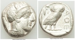 ATTICA. Athens. Ca. 440-404 BC. AR tetradrachm (24mm, 17.10 gm, 1h). Fine. Mid-mass coinage issue. Head of Athena right, wearing crested Attic helmet ...