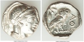 ATTICA. Athens. Ca. 440-404 BC. AR tetradrachm (24mm, 17.19 gm, 7h). Choice XF, punches, test cut. Mid-mass coinage issue. Head of Athena right, weari...