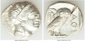 ATTICA. Athens. Ca. 440-404 BC. AR tetradrachm (25mm, 17.17 gm, 7h). XF, test cut. Mid-mass coinage issue. Head of Athena right, wearing crested Attic...