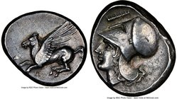CORINTHIA. Corinth. Ca. 4th century BC. AR stater (22mm, 8.64 gm, 3h). NGC AU 4/5 - 5/5. Pegasus flying left, Ϙ below / Head of Athena left, wearing C...