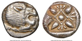 IONIA. Miletus. Ca. late 6th-5th centuries BC. AR obol (10mm). NGC AU. Milesian standard. Forepart of roaring lion left, head reverted / Stellate flor...