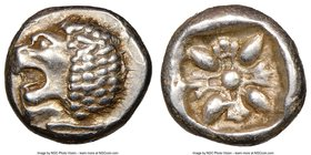 IONIA. Miletus. Ca. late 6th-5th centuries BC. AR obol (9mm). NGC Choice XF. Milesian standard. Forepart of roaring lion right, head reverted / Stella...