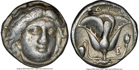 CARIAN ISLANDS. Rhodes. Ca. 340-305 BC. AR didrachm (18mm, 12h). NGC Choice Fine. Head of Helios facing, turned slightly right, hair parted in center ...