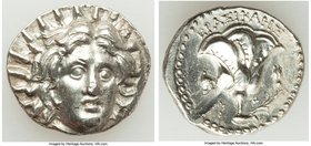 CARIAN ISLANDS. Rhodes. Ca. 250-205 BC. AR didrachm (21mm, 6.72 gm, 12h). AU, scuff. Erasicles, magistrate. Radiate facing head of Helios, turned slig...