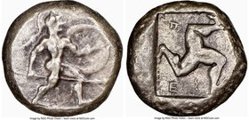 PAMPHYLIA. Aspendus. Ca. mid-5th century BC. AR stater (19mm, 7h). NGC VF. Helmeted nude hoplite advancing right, shield in left hand, spear forward i...