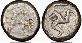 PAMPHYLIA. Aspendus. Ca. mid-5th century BC. AR stater (19mm, 12h). NGC Fine, countermark. Helmeted nude hoplite advancing right, shield in left hand,...