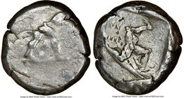 PAMPHYLIA. Aspendus. Ca. mid-5th century BC. AR stater (20mm, 3h). NGC VG, overstruck. Helmeted nude hoplite warrior advancing right, shield in left h...