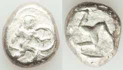 PAMPHYLIA. Aspendus. Ca. mid-5th century BC. AR stater (20mm, 10.88 gm, 12h). NGC VF. Helmeted nude hoplite advancing right, shield in left hand, spea...
