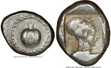 PAMPHYLIA. Side. Ca. 5th century BC. AR stater (22mm, 8h). NGC Choice VF. Ca. 430-400 BC. Pomegranate; guilloche beaded border / Head of Athena right,...