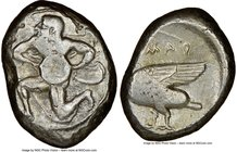 CILICIA. Mallus. Ca. 440-385 BC. AR stater (23mm, 6h). NGC Choice Fine. Bearded male, winged, in kneeling/running stance left, holding solar disk with...