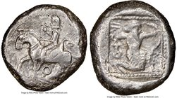 CILICIA. Tarsus. Ca. late 5th century BC. AR stater (20mm, 10.50 gm, 11h). NGC XF 3/5 - 3/5. Ca. 420-410 BC. Satrap on horseback riding left, reins in...