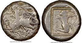CILICIA. Tarsus. Ca. late 5th century BC. AR stater (19mm, 1h). NGC VG. Satrap on horseback riding left, reins in left hand, lotus upward in right; ea...