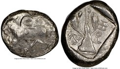 CYPRUS. Uncertain mint. Ca. early 5th century BC. AR stater (21mm, 9h). NGC Choice VF. Ram walking left; ankh superimposed above, RA (Cypriot) below /...