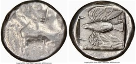 CYPRUS. Paphos. Onasioikos (ca. 425-400 BC). AR stater (21mm, 10.16 gm, 6h). NGC Choice VF 3/5 - 4/5. Bull standing left, winged solar disk above, ank...