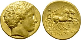 KINGS OF MACEDON. Philip II (359-336 BC). GOLD Stater. Pella. Possible lifetime issue.