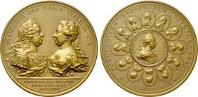 HOLY ROMAN EMPIRE. Francis I with Maria Theresia (1745-1765). Bronze Medal.