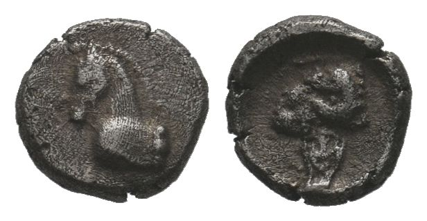 Uncertain mint AR Obol. Circa 4th century BC. Head of horse right / Head of ram ...