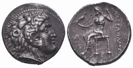 Kingdom of Macedon, Alexander III 'the Great' AR Tetradrachm. circa 333-327 BC. Head of Herakles right, wearing lion skin / ΒAΣΙΛEΩΣ AΛEΞANΔPOY, Zeus ...