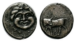 Parion , Mysia. AR Tetrobol (13 mm, 2.37 g), c. 350-300 BC. Obv. Bull standing left, head turned back; below, omphalos.Rev. Gorgoneion facing.SNG Münc...