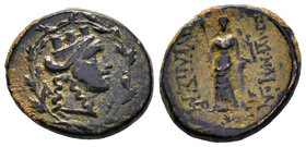 MYSIA. Pergamon. Ae (Circa 133-27 BC). Obv: Helmeted head of Athena right within wreath. Rev: AΘHNAΣ / APEIAΣ. Owl standing right, head facing. Von Fr...