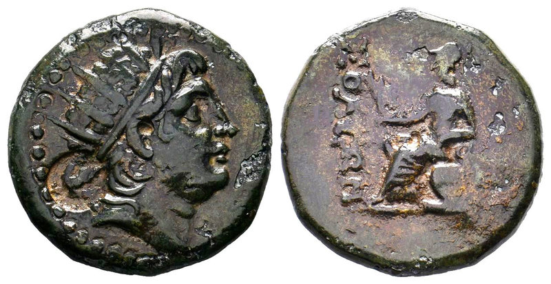 Soli, Cilicia, AE26, 10.47g. Radiate head of Helios right (AE monogram behind he...