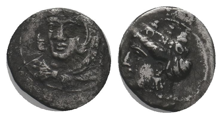 Cilicia. Uncertain mint. AR Obol , 4th century BC. Obv. Head of Herakles facing ...