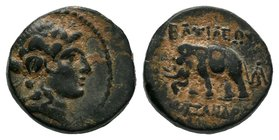 SELEUCID KINGS of SYRIA. Alexander I. 150-145 BC. Æ. Head of Dionysos right, wearing ivy wreath / ΒΑΣΙΛΕΩΣ ΑΛΕΞΑΝΔΡΟΥ, elephant standing left, monogra...