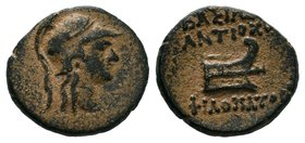 SELEUKID KINGDOM. Antiochos IX Kyzikenos (Circa 113-95 BC). Ae. Uncertain mint in Syria or Phoenicia. Obv: Helmeted head of Athena right. Rev: ΒΑΣΙΛΕΩ...