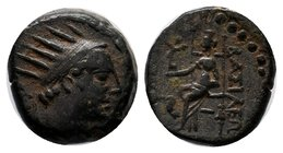 Seleukid Kingdom. Antiochos IV Epiphanes. 175-164 B.C. Æ. Seleukeia on the Tigris. Radiate head of Antiochos IV Epiphanes right; [control behind] / ΒΑ...