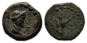 SELEUKID KINGDOM. Achaeus, 220-214 BC. AE of Sardes. Head of Apollo / Tripod. SC.958. Fine, brown patina. Scarce.