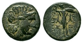 SELEUKID EMPIRE. Seleukos I Nikator. 312-281 BC. Æ. Antioch on the Orontes mint. Struck circa 300-281 BC. Laureate head of Apollo right / Athena Proma...