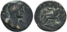 PHRYGIA, Apamea. Hadrian. 98-117 AD. Æ 20mm (5.44 gm). Laureate bust right, aegis tied at shoulder / The river god Marsyas reclining left, holding alo...