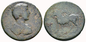 CILICIA, Mopsus. Caracalla. 198-217 AD. Æ . Dated year 265 (198 AD). Bare-headed, draped, and cuirassed bust right, seen from behind / Saddled mule st...