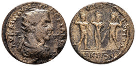 CILICIA. Tarsus. Valerian I (253-260). Ae. Obv: AV KAI ΠOV ΛI OVAΛЄPIANOC CЄ / Π - Π. Radiate, draped and cuirassed bust right. Rev: TAPCOV MHTPOΠOΛЄΩ...