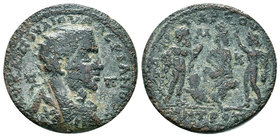 CILICIA. Tarsus. Valerian I (253-260). Ae. Obv: AV KAI ΠOV ΛI OVAΛЄPIANOC CЄ / Π - Π. Radiate, draped and cuirassed bust right. Rev: TAPCOV / MHTPOΠOΛ...