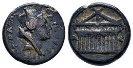 CILICIA, Tarsus. Pseudo-autonomous issue. Time of Hadrian, AD 117-138. Æ . Turreted, veiled, and draped bust of Fortuna right / Decastyle temple, with...