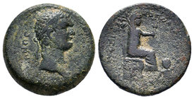 CILICIA, Flaviopolis. Domitian. 81-96 AD. Æ . Dated CY 17 (89/90 AD). Laureate head right / Tyche of Flaviopolis seated right, holding grain ears; at ...