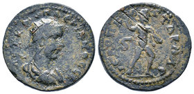 Valerian I Æ28 of Hierapolis-Kastabala, Cilicia. AD 253-260. AVT K OVAΛЄPIANOC CЄ, radiate, draped and cuirassed bust right / IЄPOΠ KACTABAΛΛЄ, Helios...