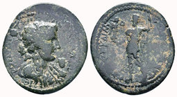 Cilicia. Hieropolis-Kastabala . Septimius Severus AD 193-211. Ae. Draped bust of Dionysos right, wearing ivy-leaf crown, thrysos over shoulder, grapes...