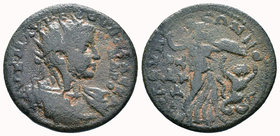 CILICIA, Seleucia ad Calycadnum. Severus Alexander. AD 222-235. Æ . Radiate and cuirassed bust right / Athena advancing right, thrusting spear at serp...