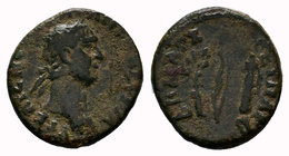 Syria, Antioch on the Orontes. Trajan. A.D. 98-117. AE, Struck A.D. 98/9. AYT KAIC NЄP TPAIAN CЄB ΓЄRM, laureate head of Trajan right / ΔΗΜΑΠΧ ΕΞ ΥΠΑΤ...
